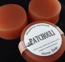 PATCHOULI Hemp Oil Soap, Detergent Free, Round Glycerin Bar Puck Hippy Musk