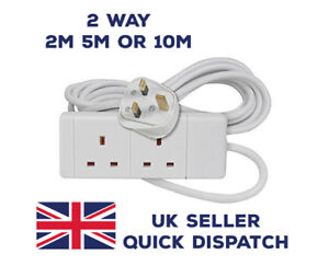 2 WAY GANG 2M 5M 10M METRE EXTENSION LEAD CABLE TRAVEL ADAPTOR EXTENSION SOCKETS