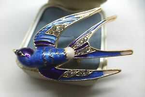VINTAGE-STYLE-JEWELLERY-BLUE-PURPLE-WHITE-ENAMEL-RHINESTONE-SWALLOW-BIRD-BROOCH