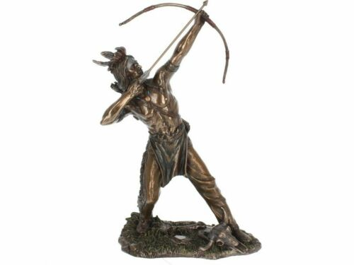 NATIVE HUNTER 30cm Bronzed Native American Indian Nemesis Now Fast Free UK Dely