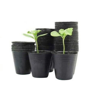 Am-100Pcs-Flower-Pot-Plastic-Seedlings-Planting-Nursery-Planter-Pots-Garden-Dur