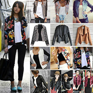 Lady Girl Floral Punk Short Jacket Long Sleeve Biker Blazer Slim