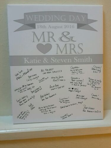 Wedding guest book signing canvas signature a2 size personalised any colours
