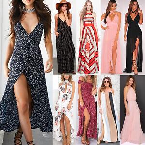 Womens-Maxi-Boho-Floral-Summer-Beach-Long-Dress-Skirt-Evening-Cocktail-Party-Lot