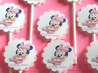 30 Baby Minnie Mouse it's A Girl Cupcake Toppers Party Favors, Baby Shower 30