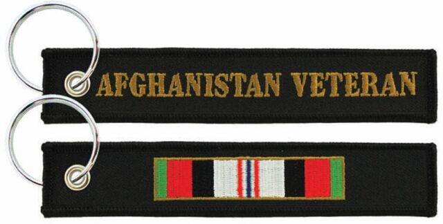 OEF Ribbon Embroidered Key Chain Fob Veteran