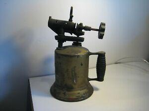 Vintage-Antique-Primitive-Hercules-Brass-Metal-Blow-Torch-Wood-Handle-Hand-Tool