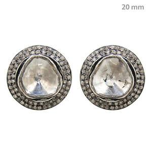 3-35-Ct-Natural-Diamond-Rose-Cut-Stud-Earrings-14k-Yellow-Gold-Handmade-Jewelry