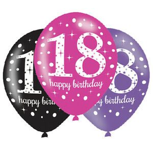 Image Is Loading 6 X 18th Birthday Balloons Black Pink Lilac