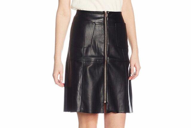 a7e1492fad Dorothy Perkins Faux Leather Look Mini Skirt Tube Black Rose Gold Zip UK 10  £28