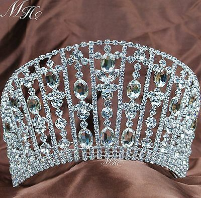 "Luxurious Women Tiara Large Crown 4.25"" Austrian Rhinestone Beauty Pageant Party"