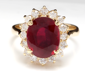 6.70 Carats Red Ruby and Natural Diamond 14K Solid White gold Ring