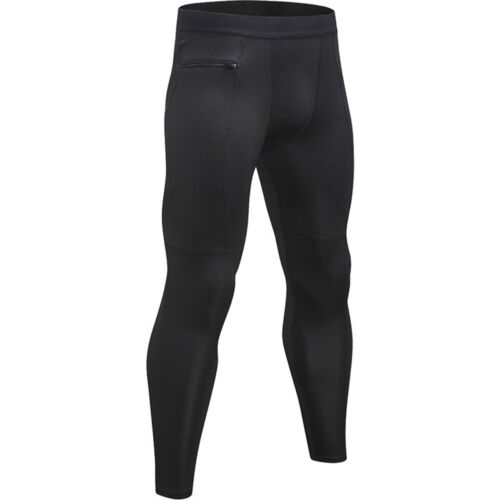 Men/'s Quick Dry Elastic Sports Tight Pants Zipper Pocket Fitness Solid Trousers