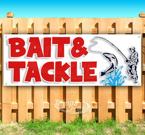 BAIT AND TACKLE Advertising Vinyl Banner Flag Sign Many Sizes FISHING