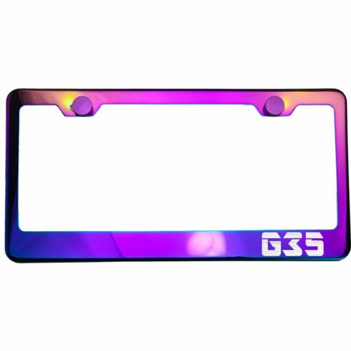 Polish Neo Neon Chrome License Plate Frame G35 Laser Etched Metal Screw Cap