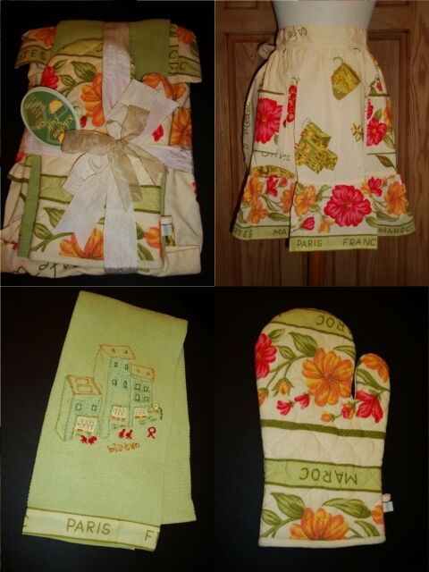 Nouveau April Cornell Tablier Serviette Mitaine ensemble cadeau fleur verte vintage romantique Neuf avec étiquettes