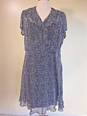 FASHION BUG Plus Size 24W Lined Sheer Black White Polka Dot Ruffle Dress |  eBay