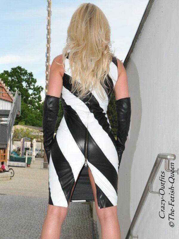 Lederkleid Leder Kleid black   white Gestreift Maßanfertigung Maßanfertigung Maßanfertigung b312a4