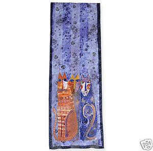 Laurel Burch 100/% Silk Oblong Silk Scarf Teal Blue Purple Celestial Cats New