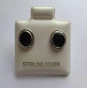 Sterling-Argent-Massif-Onyx-Ovale-Boucles-D-039-Oreilles