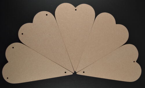 LARGE MDF WOODEN PRIMITIVE LOVE HEARTS VARIOUS HOLES  X 5 VALENTINES 6MM THICK