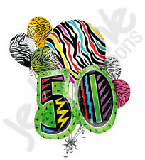 7 pc Still Wild at 50 Happy Birthday Colorful Zebra Print Balloon Bouquet 50th