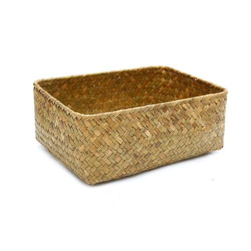 Straw Dried Flower Fruit Pot Basket Rattan Box Candy Earphone Organizer Newly