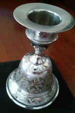 Satin Brass Etched Bells Taper Candleholder  Z.Y. India