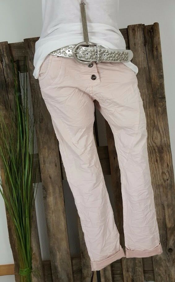 NEU ITALY BAGGY BOYFRIEND CRASH HOSE PANTS STRETCH WASHED pink M 38