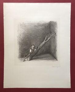 Gottfried Wiegand, Holzfäller auf (…), Lithographie, 1979, handsigniert