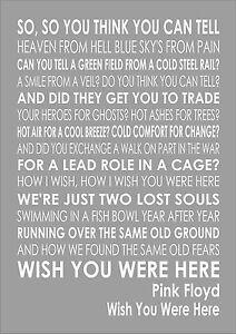 Pink Floyd Wish You Were Here Lyrics Lyric Word Wall Art Typography Words Ebay