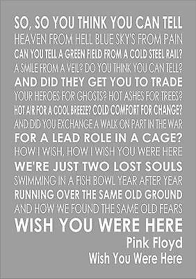 Wish You Were Here Lyrics Poster Song Art Print Music Glossy No Frame Merry Xmas