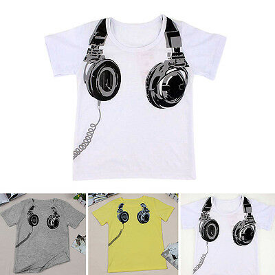 2-7Y Baby Boys Trendy Short Sleeve Earphone Print Tee Cotton Casual T-shirt Tops