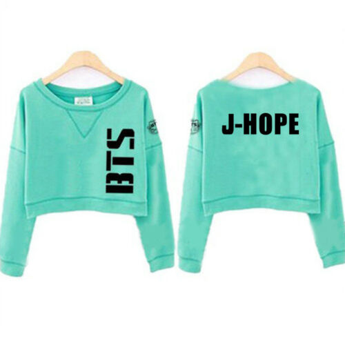 BTS Women Sweatshirt Jumper Sweater Casual Crop Top Pullover JUNG KOOK JIMIN New