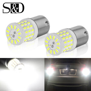 2X 6000K White 1157 BAY15D P21/5W 57-SMD LED Ceramic Tail Stop Brake Light Bulbs