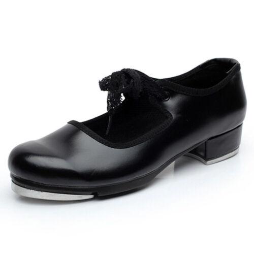Women Tap Dance Shoes Mary Janes Ballroom Modern Dancer Shoes Block Heel Lacy
