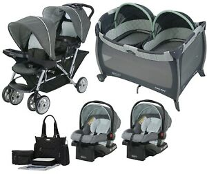 Double Stroller with 2 Compatible Car Seats Twins Playard Baby Travel System Set