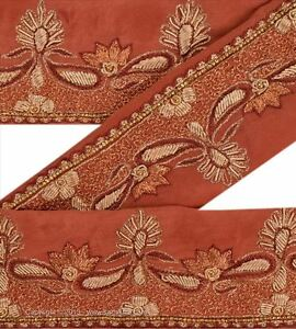 Vintage Sari Border Antique Hand Beaded Indian Trim Sewing Orange Lace Sewing