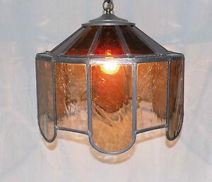 deckenlampe rustikale lampe mit glasschirm bleiverglasung ebay. Black Bedroom Furniture Sets. Home Design Ideas