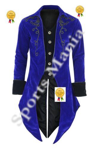 Giacca blu moda Aristocrat di Steampunk da Goth con Regency frac velluto nero uomo 6TBrqw06