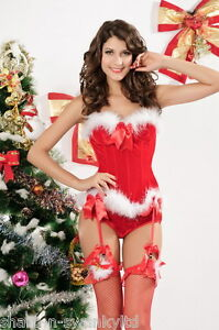 1a8bad5e13e Image is loading Ladies-Sexy-Mrs-Christmas-Santa-Corset-Lingerie-Fancy-