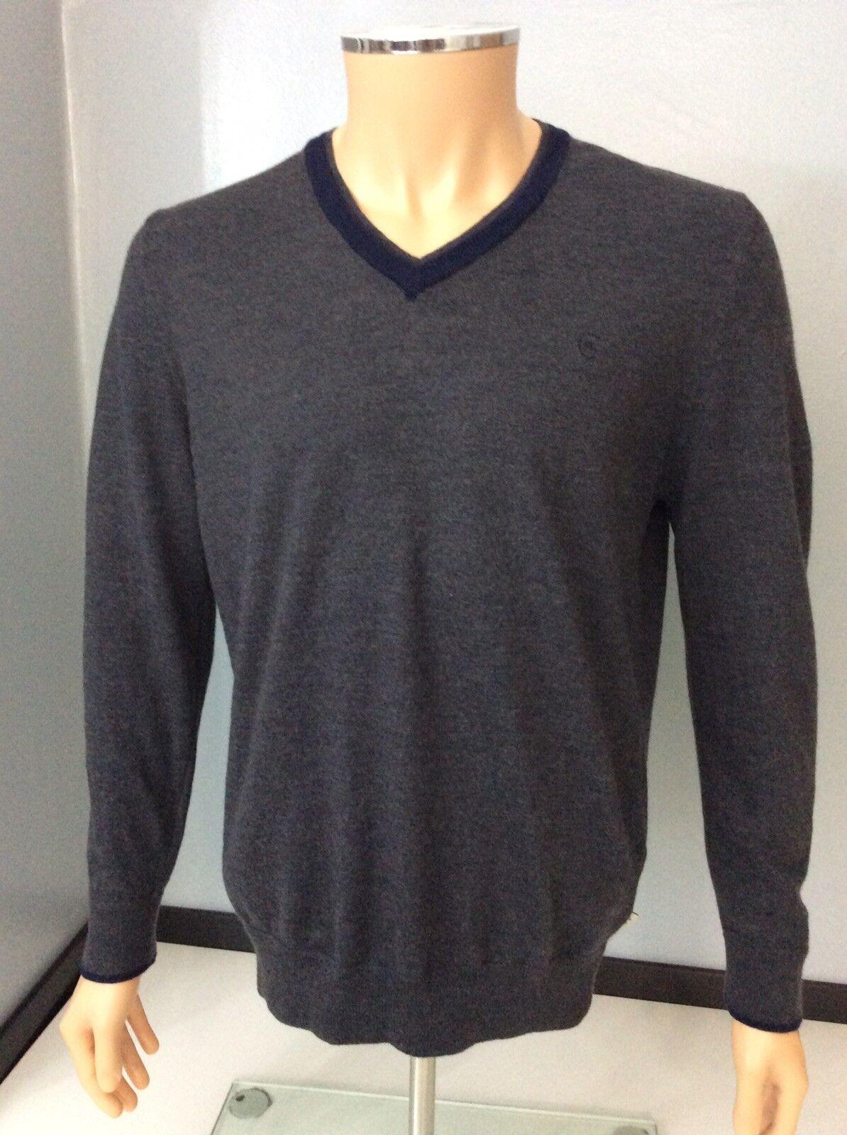 Cerruti 1881 uomo lana collo V Maglione, dimensioni, grande, l, grigio, in buonissima condizione