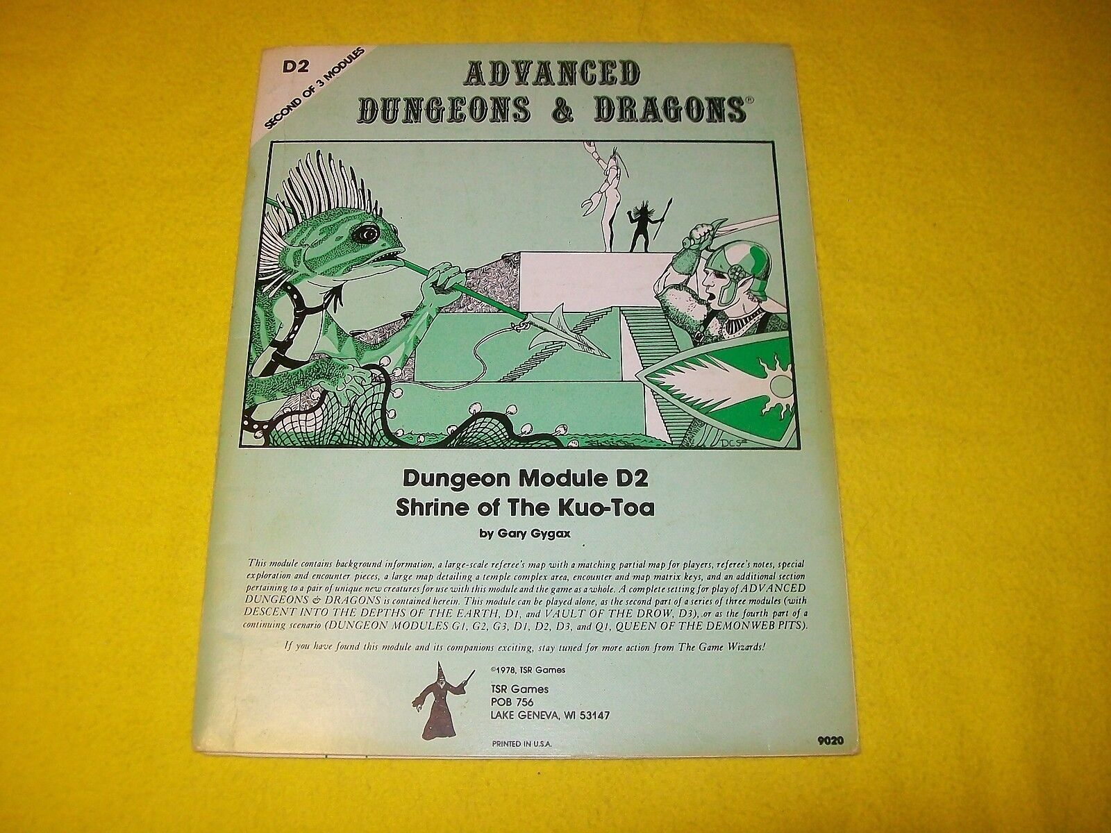 D2 SHRINE OF THE KUO-TOA DUNGEONS & DRAGONS AD&D 9020 - 12 MONOCHROME 1ST PRINT