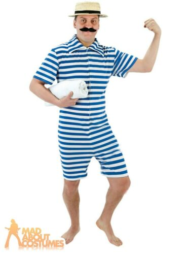 Adult Mens 1920s Blue Beach Hunk Costume Victorian Swimsuit Fancy Dress Outfit