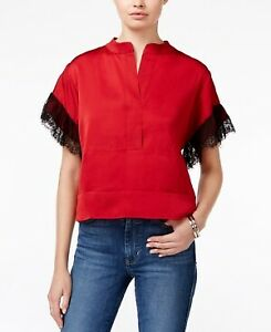 GUESS-Women-039-s-Lace-Sleeve-Top-Size-M