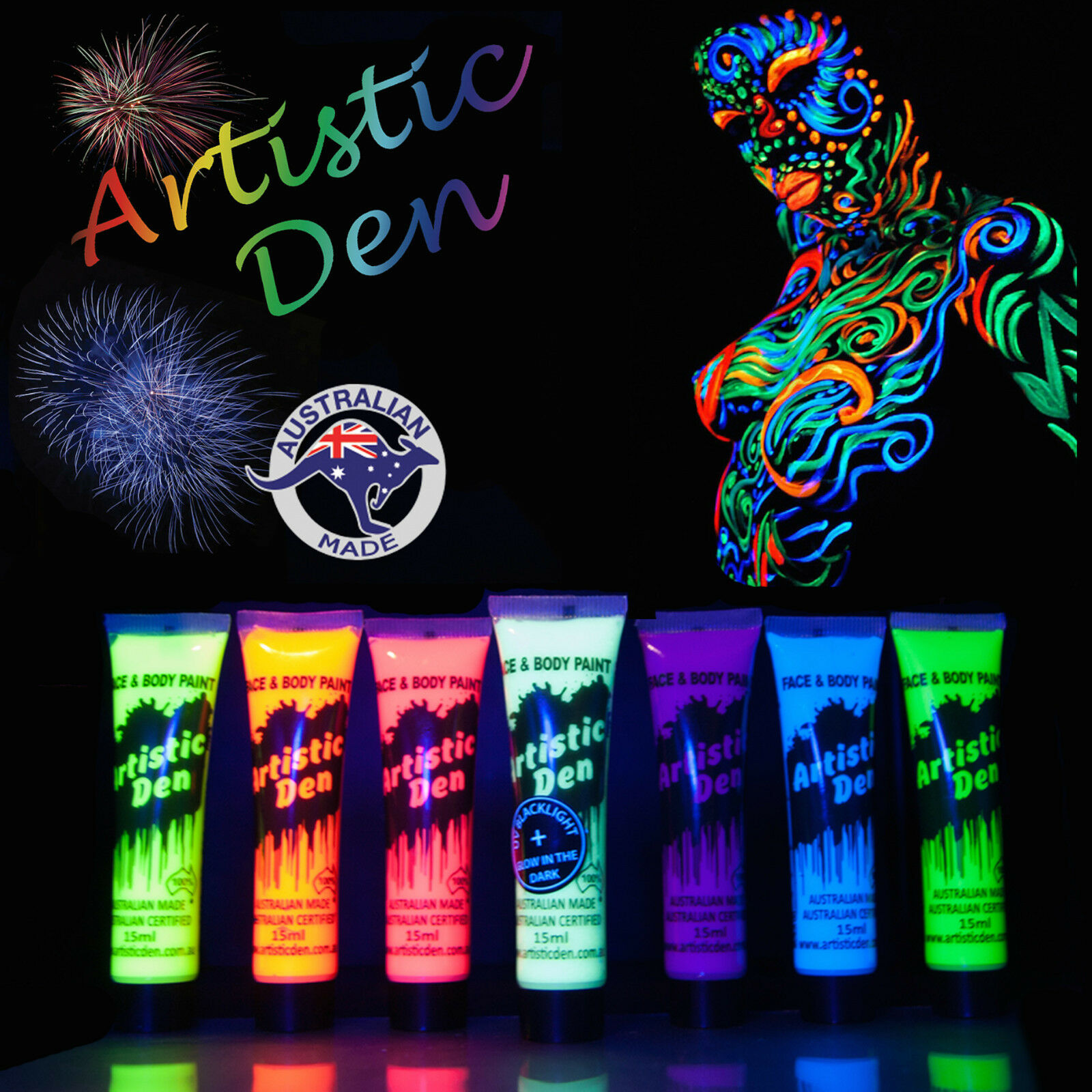 Bright face paint body face paints 1003 blue paint blue color - 15ml Uv Face Paint Body Paint Black Light Fluoro Party Glow In Dark Neon