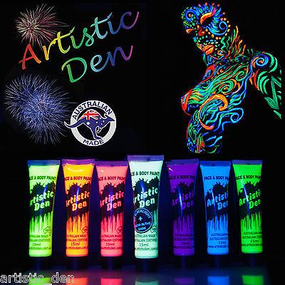 15ml - UV Face Paint Body Paint Black Light Glow in Dark Neon