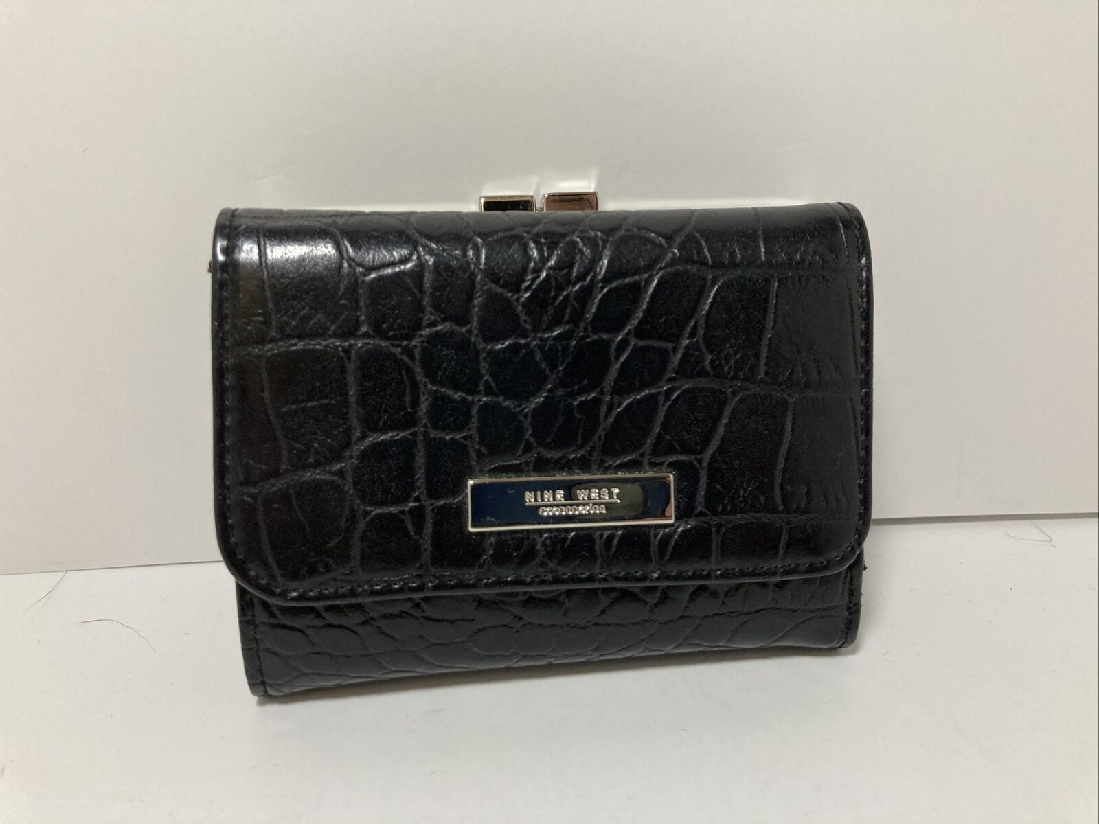 Nine West Wallet Black Faux Leather With Coin Purse Tri Fold