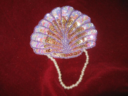 LAVENDER SEQUIN BEADED 3In x 3 6//8 In SEASHELL APPLIQUE WITH PEARLS  2754-B