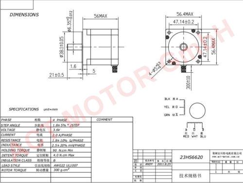 ACT MOTOR GmbH 5PCS Nema23 Stepper Motor 23HS6620 6Leads 2A 56mm 1.26Nm φ 6.35mm